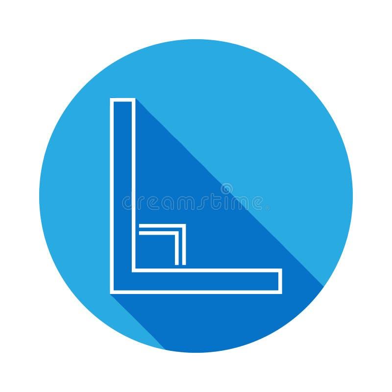 icône à angle droit avec la longue ombre Ligne mince icône pour la conception de site Web et le développement, développement d'AP illustration stock