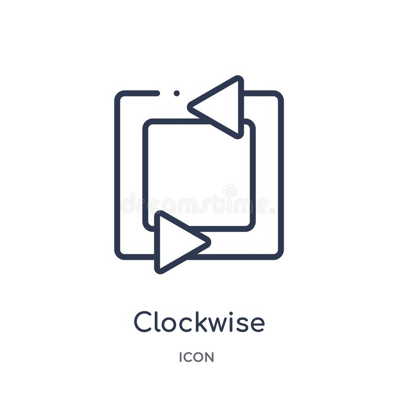 icône à angles dans le sens horaire de flèches de collection d'ensemble d'interface utilisateurs Ligne mince icône à angles dans  illustration libre de droits
