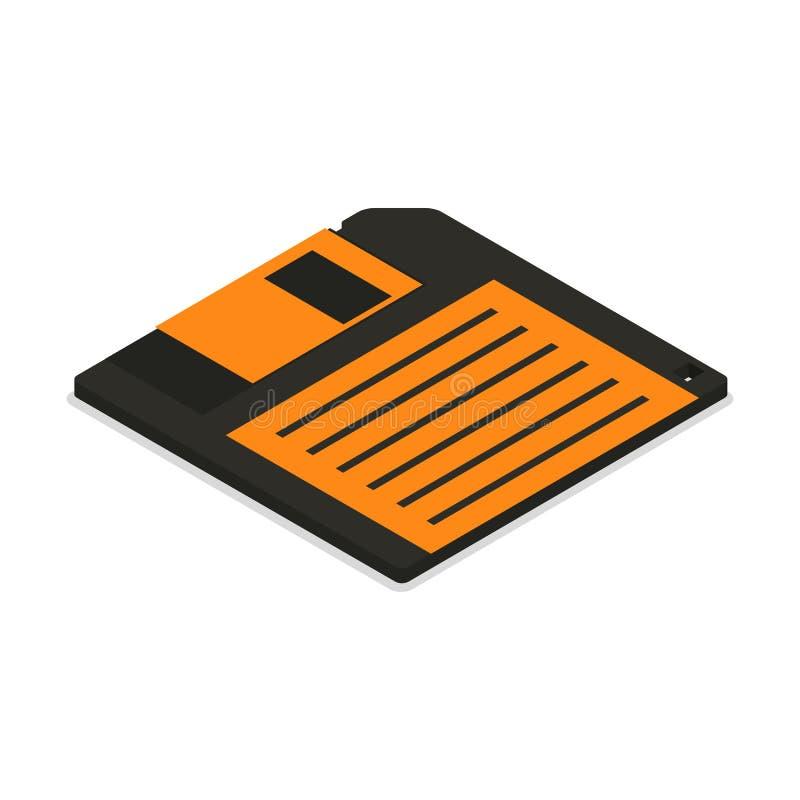 Icône à disque souple dans 3d isométrique, illustration de vecteur illustration libre de droits