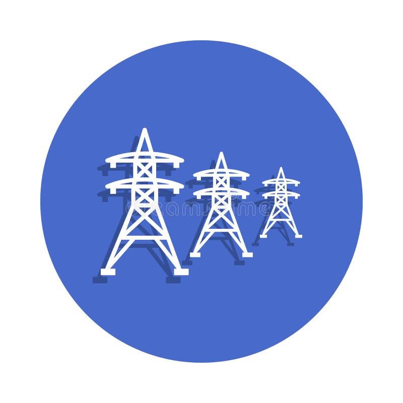 Icône à haute tension de lignes électriques dans le style d'insigne Un de l'électro icône de collection peut être employé pour UI illustration stock