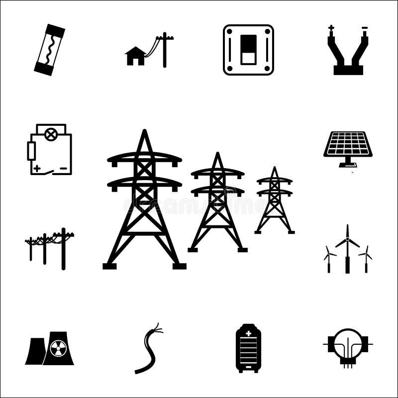 Icône à haute tension de lignes électriques Ensemble d'icônes d'énergie Icônes de la meilleure qualité de conception graphique de illustration de vecteur