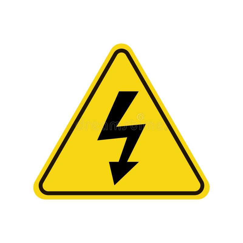 Icône à haute tension, panneau d'avertissement, signe de sécurité, symbole de danger illustration stock
