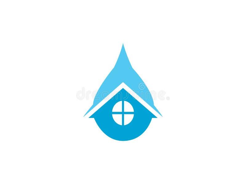 Icône à la maison de plombier à l'intérieur d'une goutte de l'eau pour la réparation de maison sanitaire, conception de logo illustration libre de droits