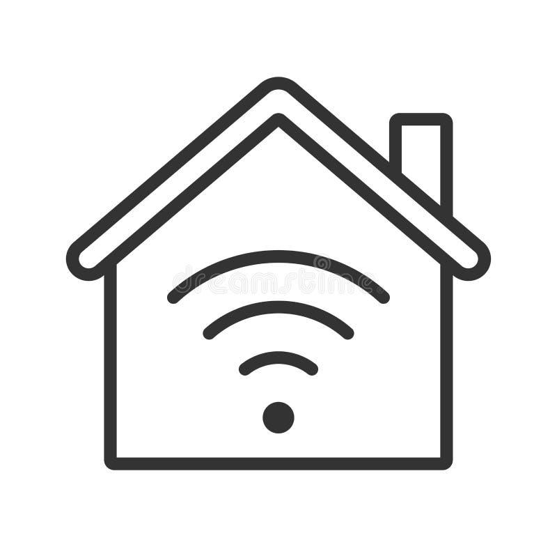 Icône à la maison de WiFi Maison intelligente illustration stock