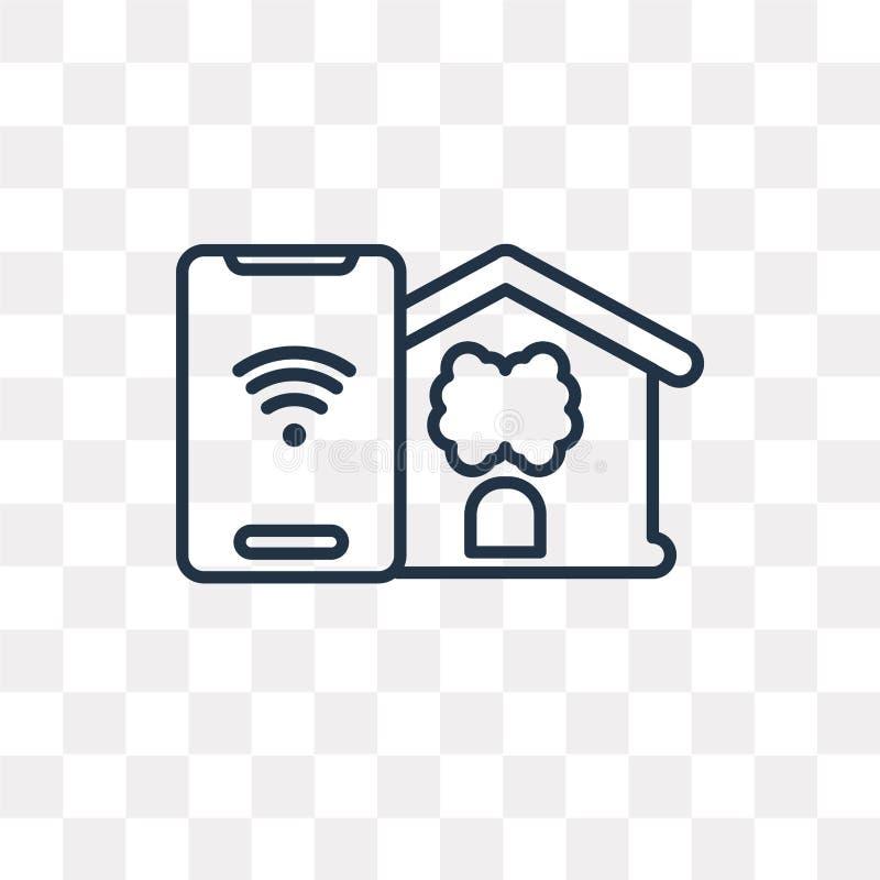 Icône à la maison futée de vecteur d'isolement sur le fond transparent, linea illustration de vecteur