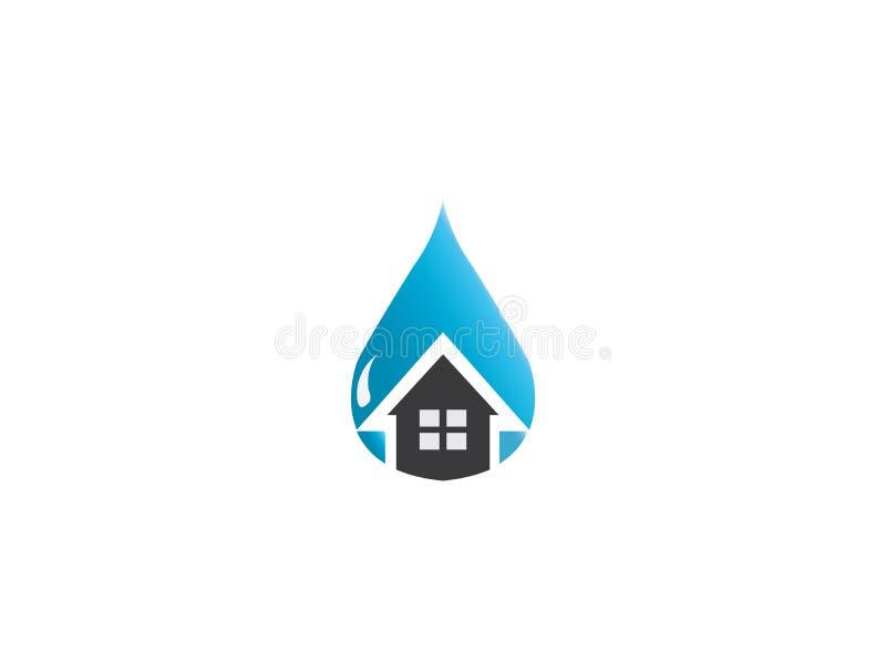 Icône à la maison à l'intérieur d'une goutte de l'eau pour la réparation de maison sanitaire, conception de logo illustration de vecteur