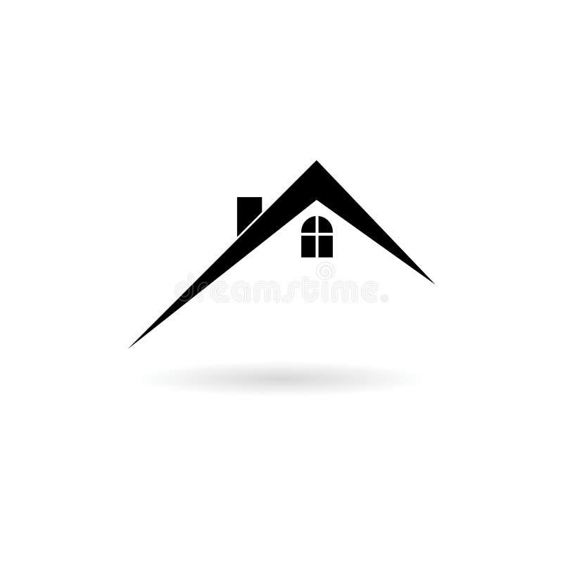 Icône à la maison noire de toit, symbole d'immobiliers illustration libre de droits