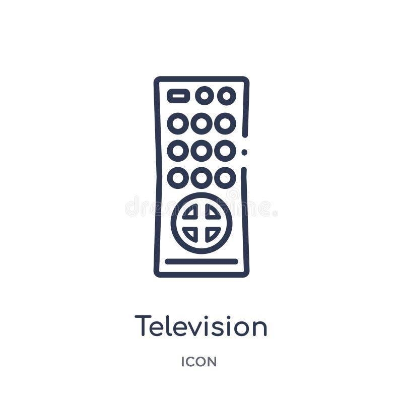 icône à télécommande de télévision de collection d'ensemble de technologie Ligne mince icône à télécommande de télévision d'isole illustration libre de droits