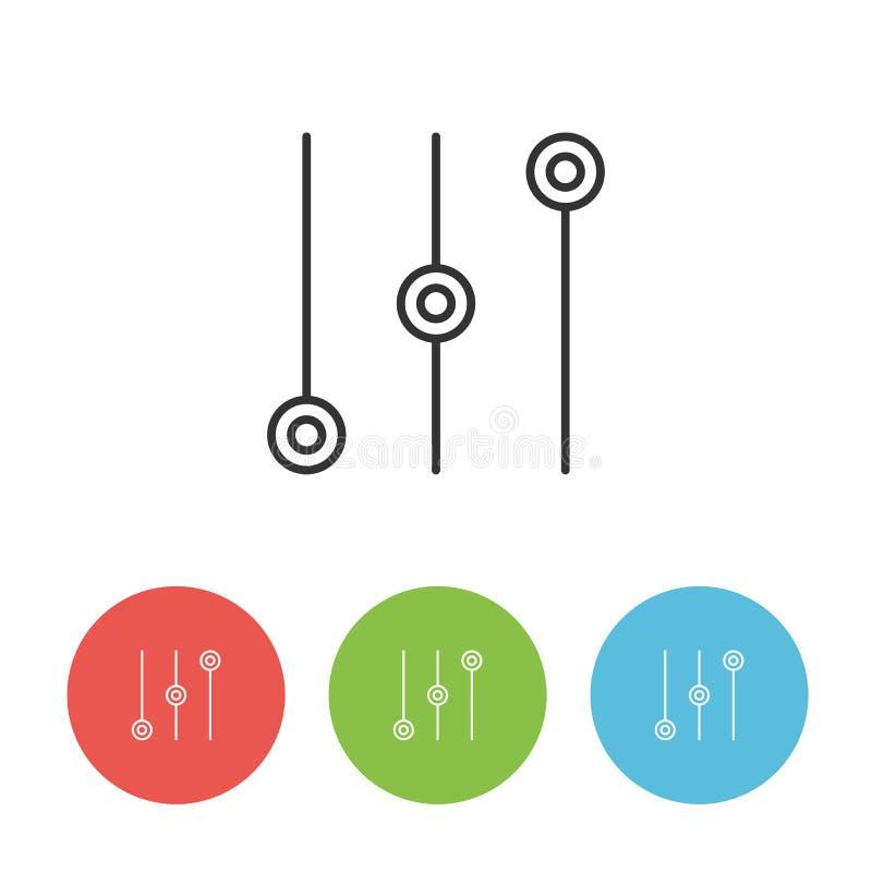 Icône à télécommande de vecteur d'égaliseur ou de mélangeur illustration libre de droits