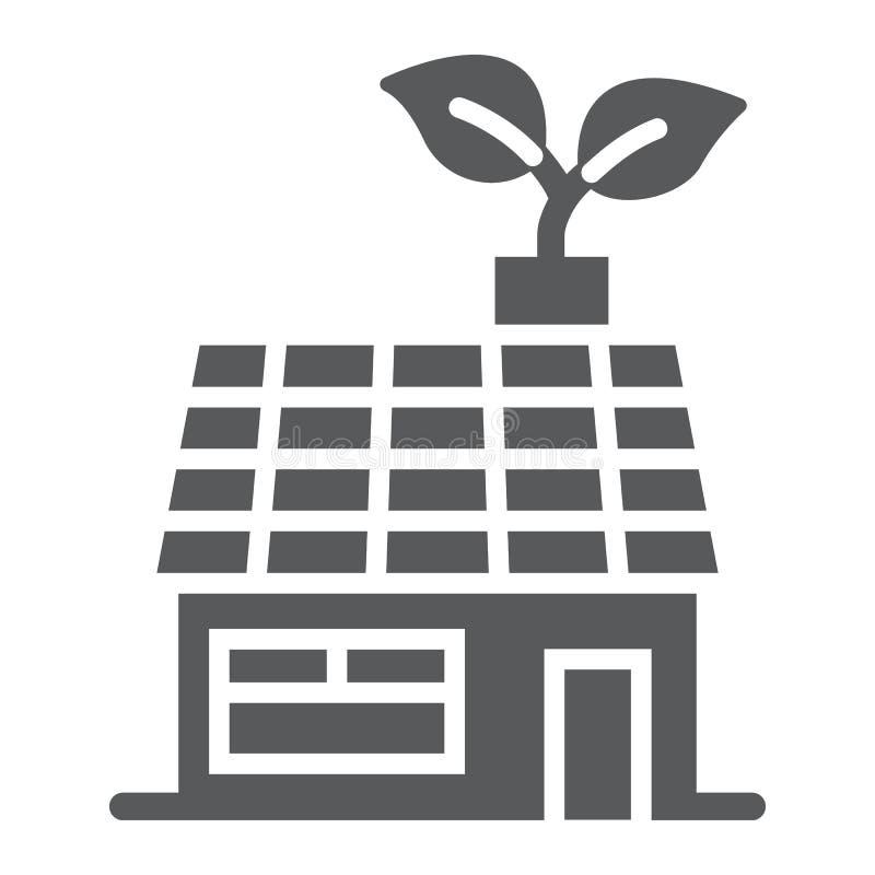 Icône, écologie et énergie de glyph de maison de basse énergie illustration de vecteur