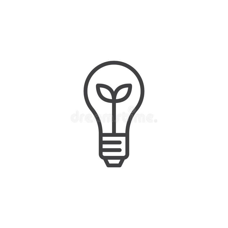 Icône écologique d'ensemble d'ampoule illustration stock