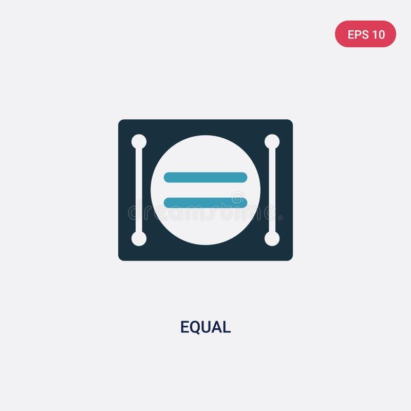 Icône égale de vecteur de deux couleurs de concept de signes le symbole égal bleu d'isolement de signe de vecteur peut être utili illustration libre de droits