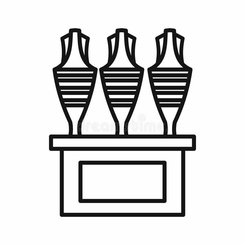 Icône égyptienne de vases, style d'ensemble illustration stock