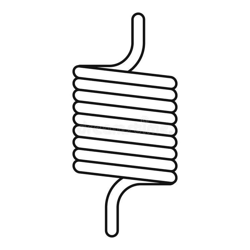 Icône élastique de fil de ressort, style d'ensemble illustration stock