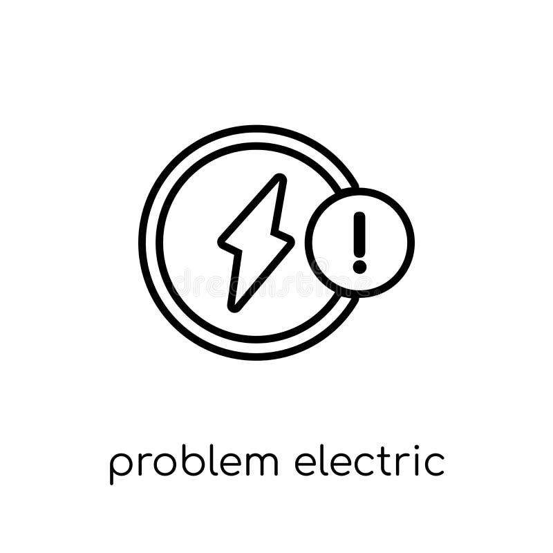 Icône électrique de problème Problème linéaire plat moderne à la mode de vecteur illustration stock