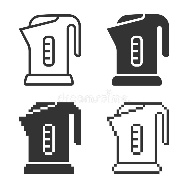 Icône électrique monochromatique de bouilloire dans différentes variantes illustration stock