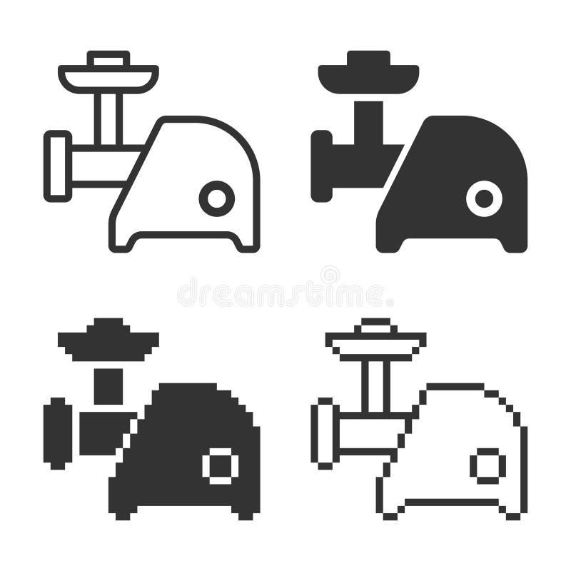 Icône électrique monochromatique de couperet de viande dans différentes variantes illustration stock