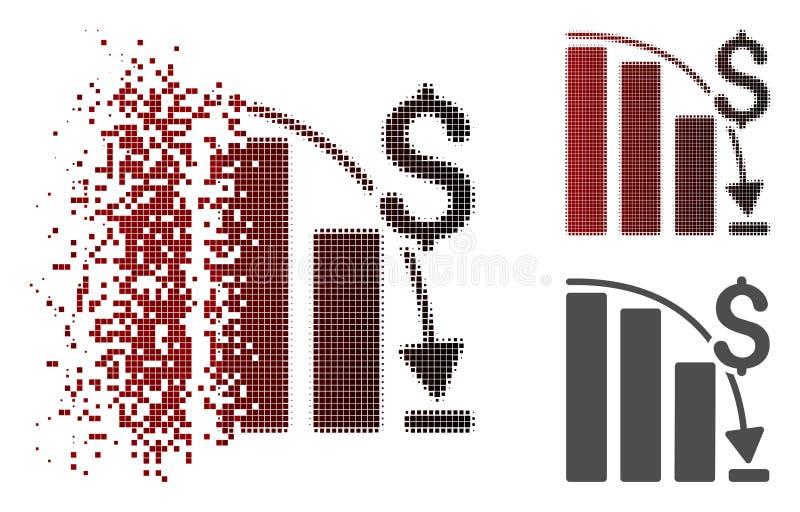 Icône épique tramée de disparition de tendance d'échouer de pixel illustration stock