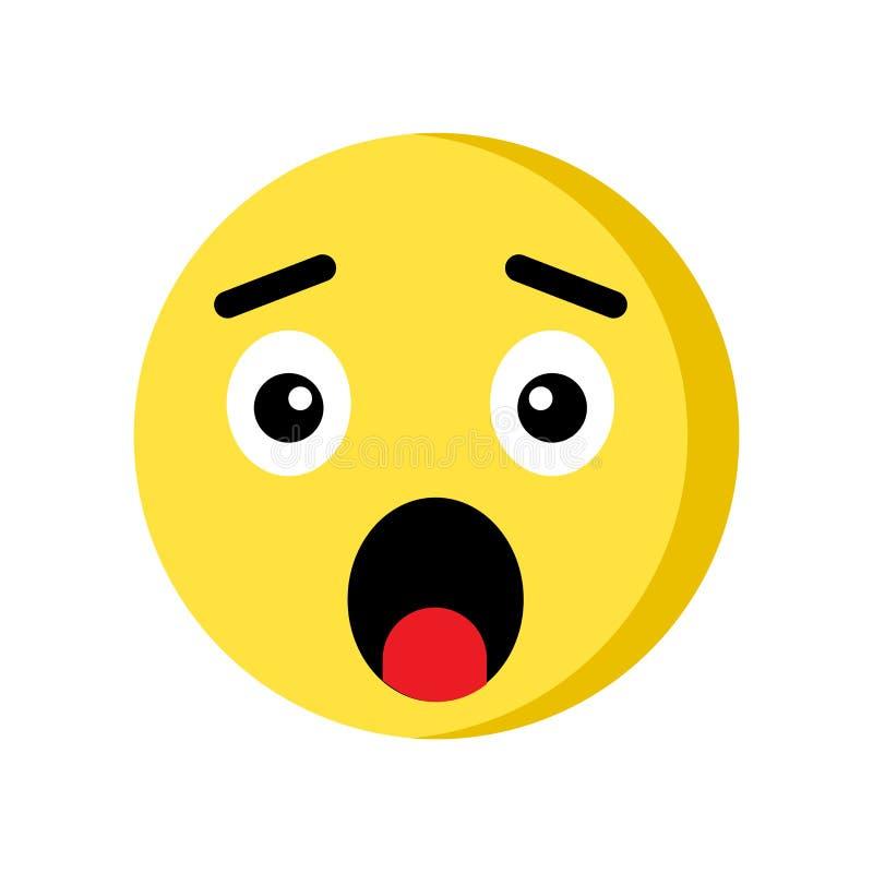 Icône étonnée d'emoji d'isolement sur le fond blanc illustration de vecteur