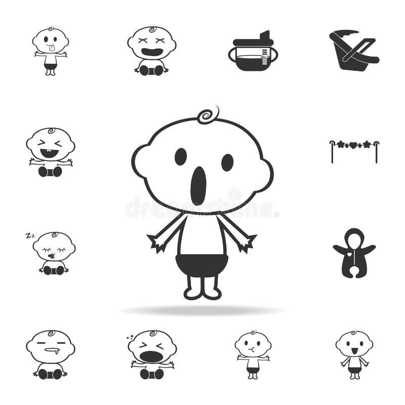 Icône étonnée par bébé garçon Ensemble d'icônes de jouets d'enfant et de bébé Conception graphique de qualité de la meilleure qua illustration de vecteur