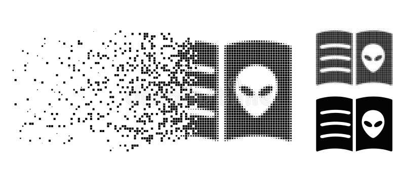 Icône étrangère tramée dissoute de livre de visage de pixel illustration de vecteur