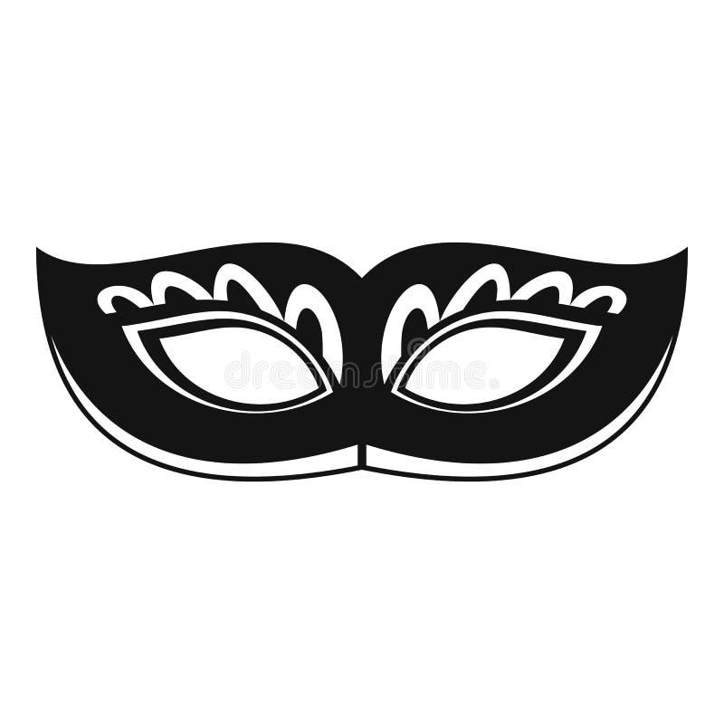 Icône étrange de masque de carnaval, style simple illustration libre de droits