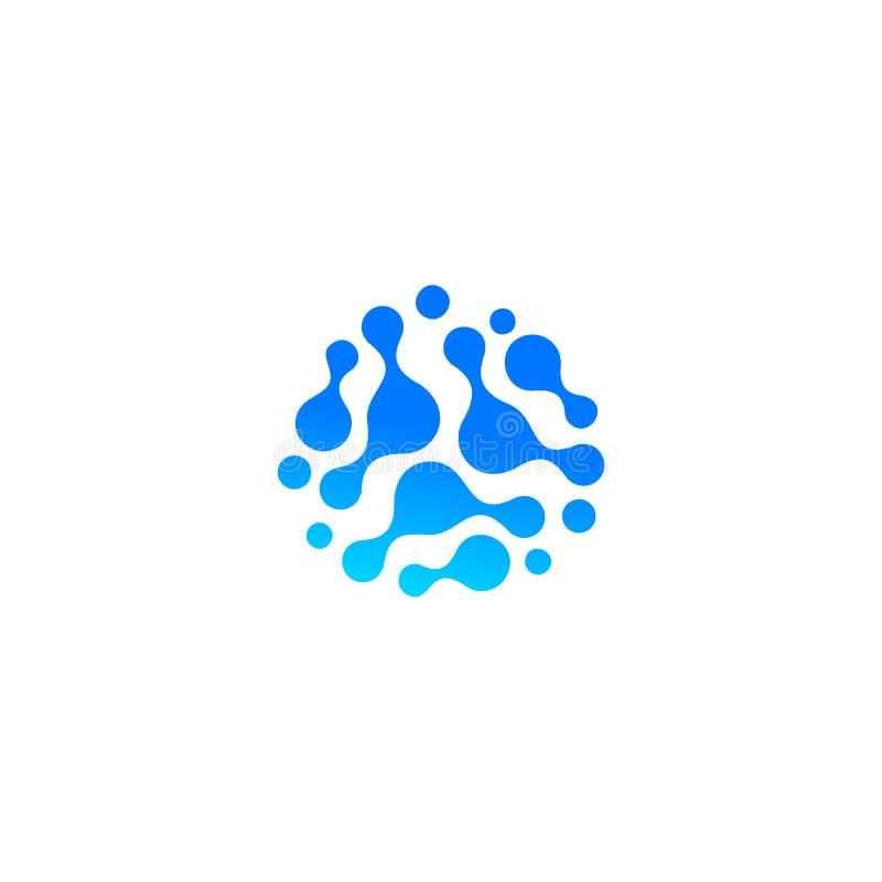 Icône abstraite bleue de baisse de l'eau Composé moléculaire, réaction chimique Forme abstraite, logo d'isolement, sillhoutte peu illustration de vecteur