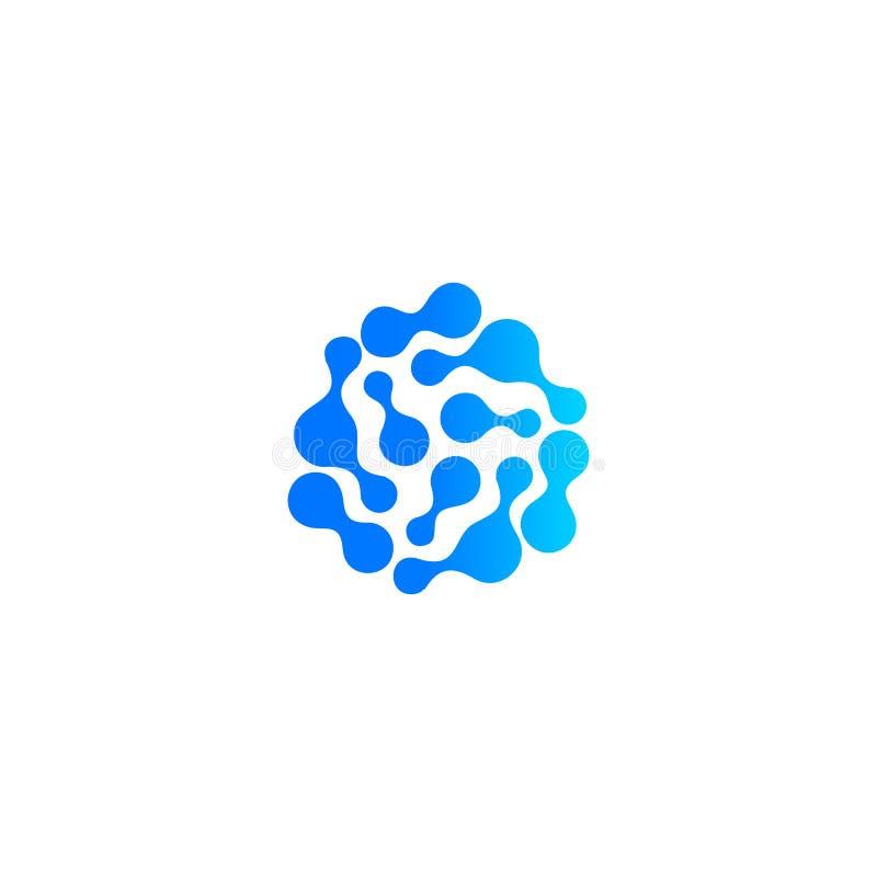 Icône abstraite bleue de baisse de l'eau Composé moléculaire, réaction chimique Forme abstraite, logo d'isolement, sillhoutte peu illustration stock