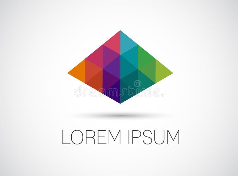 Icône abstraite colorée de pointe Pyraid coloré de perspective illustration libre de droits
