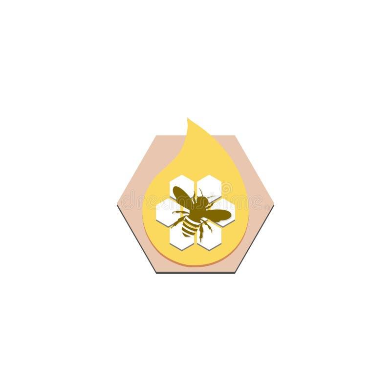 Icône abstraite de logo de signe d'abeille de miel illustration libre de droits