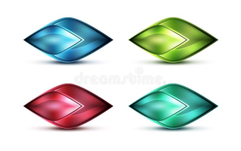 Icône abstraite en verre mate réaliste pour le message illustration de vecteur