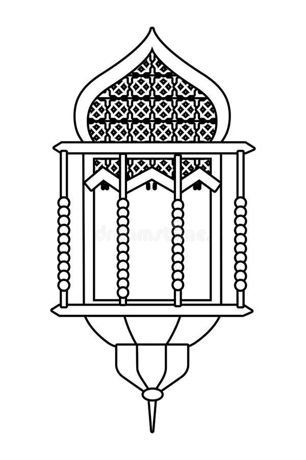 Icône accrochante de lampe noire et blanche illustration de vecteur