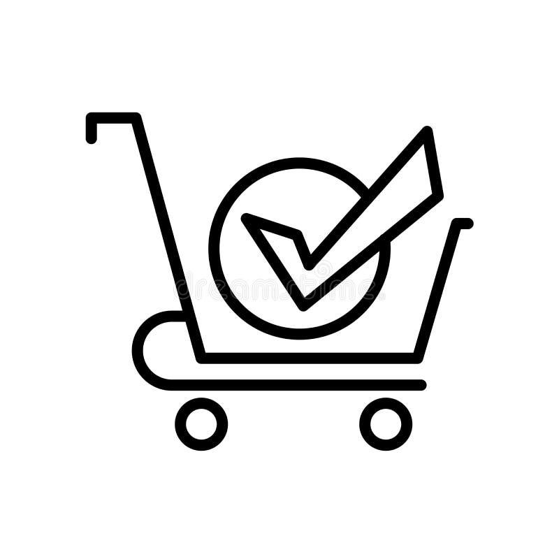 icône achetée d'isolement sur le fond blanc illustration stock