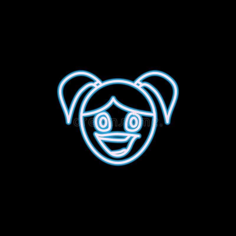 icône admirative de visage de fille dans le style au néon Un de l'icône de collection d'émotions peut être employé pour UI, UX illustration de vecteur
