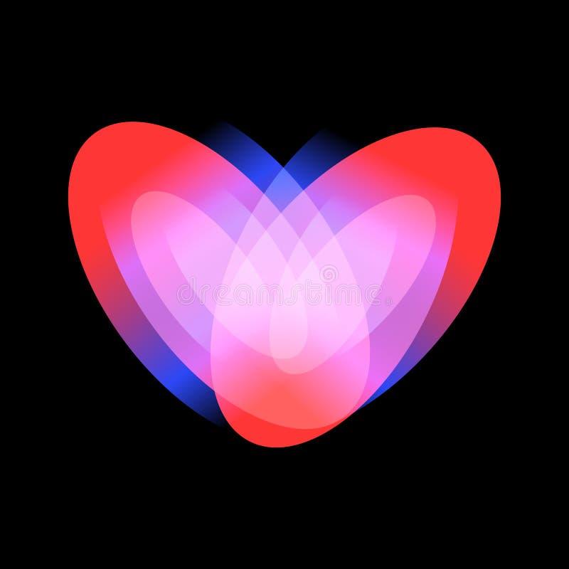 Icône adulte passionnée d'amour, symbole rougeoyant de vecteur de coeur sur le fond noir illustration stock