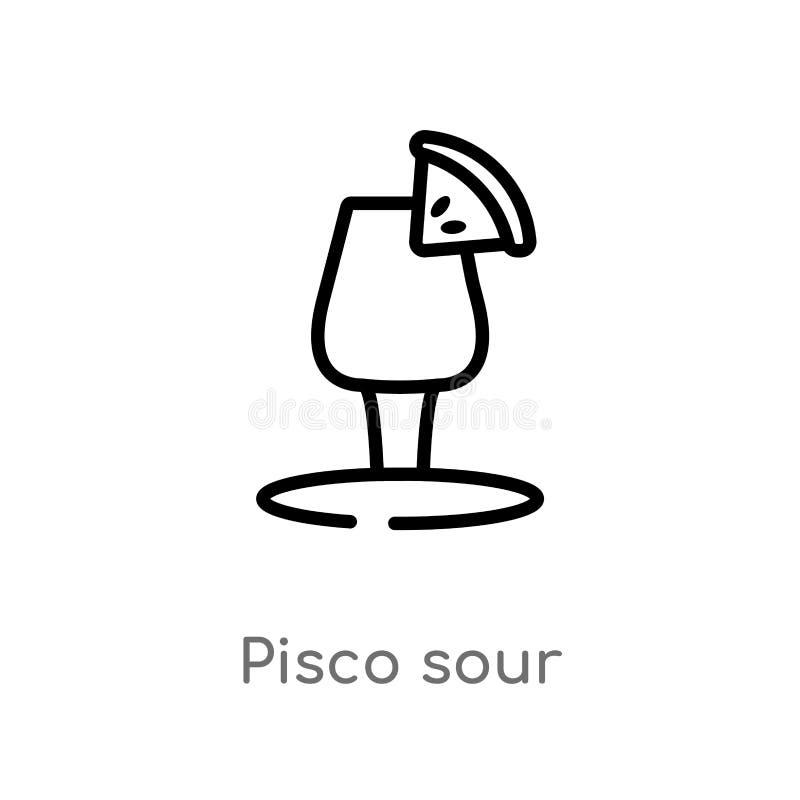 icône aigre de vecteur de pisco d'ensemble ligne simple noire d'isolement illustration d'élément de concept de boissons pisco edi illustration libre de droits