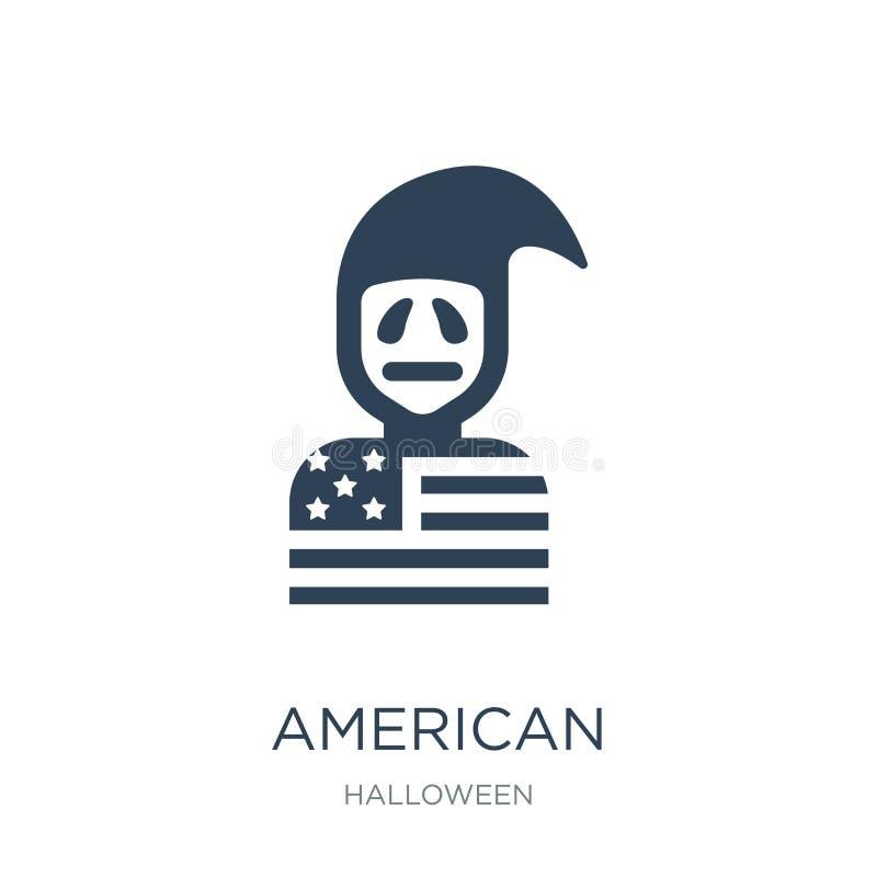 icône américaine dans le style à la mode de conception icône américaine d'isolement sur le fond blanc appartement simple et moder illustration libre de droits