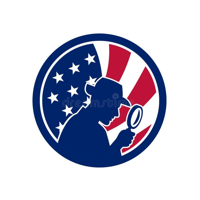 Icône américaine de drapeau des Etats-Unis d'investigateur privé illustration de vecteur