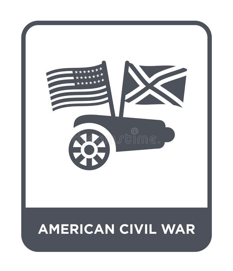 icône américaine de guerre civile dans le style à la mode de conception icône américaine de guerre civile d'isolement sur le fond illustration de vecteur