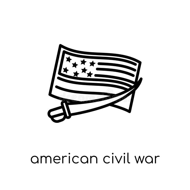 icône américaine de guerre civile Vecteur linéaire plat moderne à la mode americ illustration de vecteur