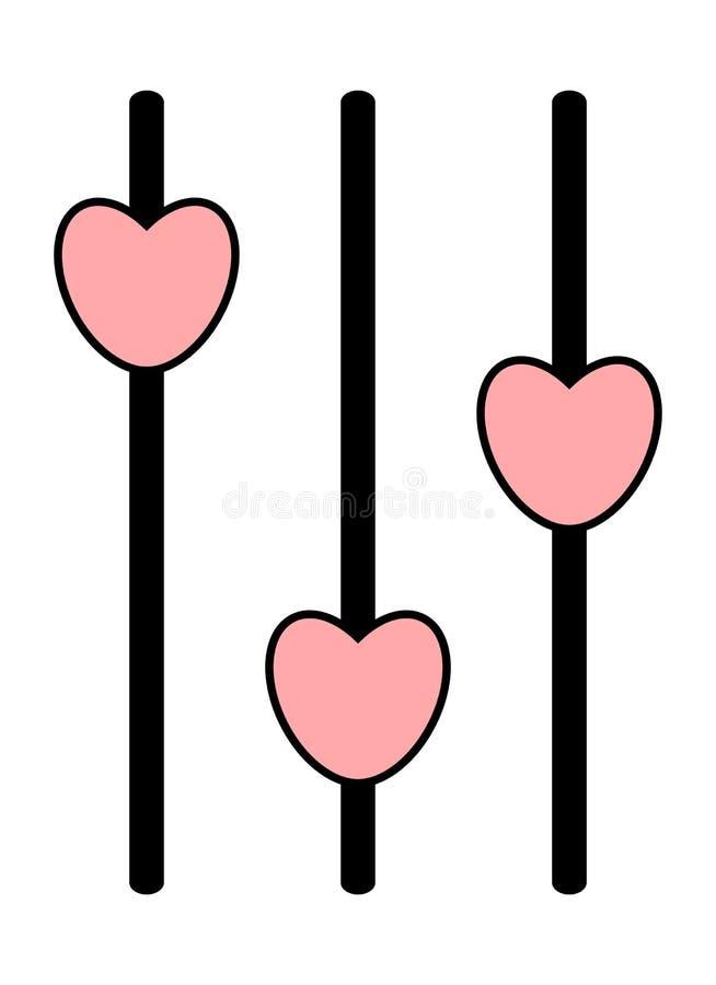 Icône analogue de mixeur son Panneau de commande avec les glisseurs roses de coeur illustration de vecteur