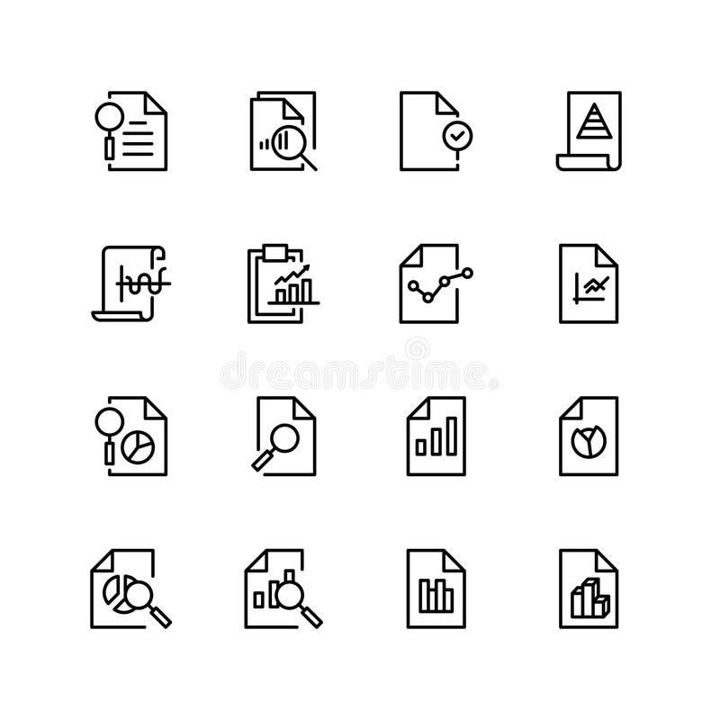 Icône analytique de document illustration stock
