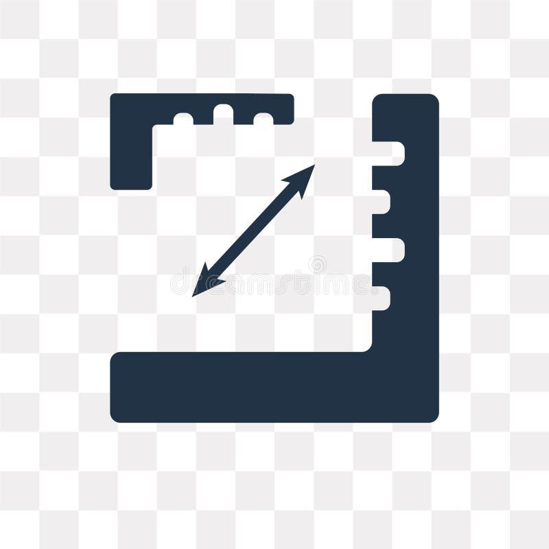 Icône angulaire de vecteur de règle d'isolement sur le fond transparent, illustration libre de droits