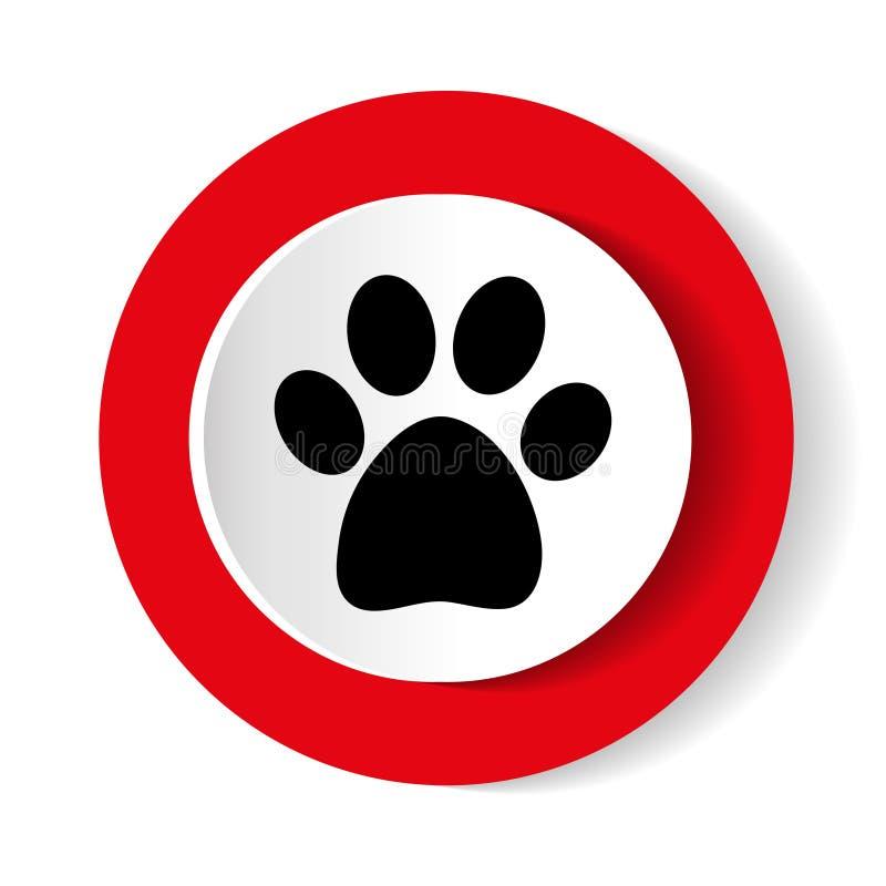 Icône animale d'impression de patte de rond rouge Illustration de vecteur illustration stock