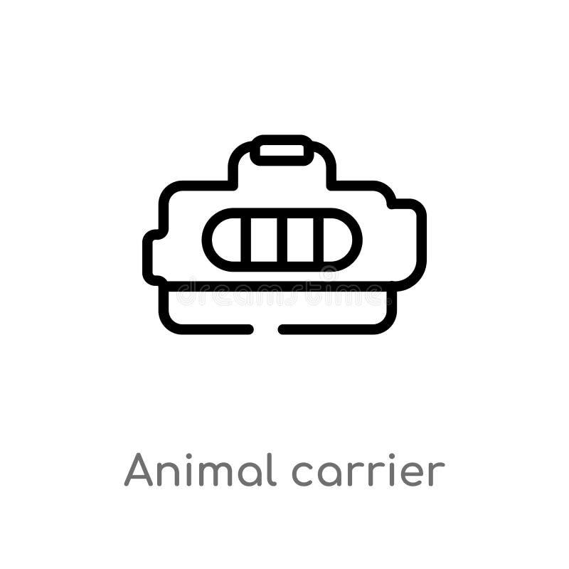 icône animale de vecteur de transporteur d'ensemble ligne simple noire d'isolement illustration d'élément de concept de transport illustration libre de droits