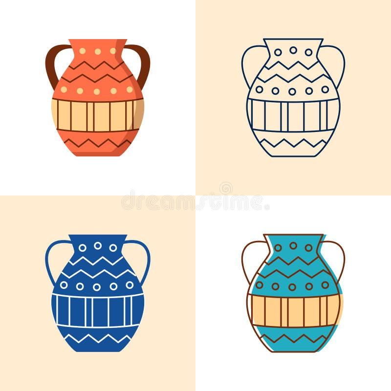 Ic?ne antique de vase r?gl?e dans l'appartement et la ligne style illustration stock