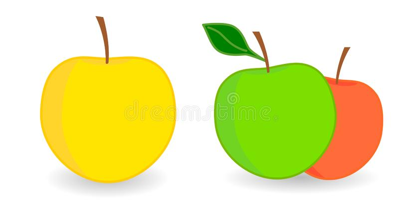 Icône Apple simple, version avec un simple et deux fruits illustration stock