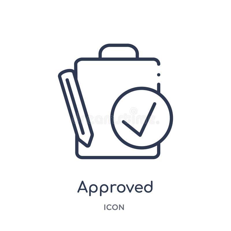 Icône approuvée linéaire de collection d'ensemble de ressources humaines La ligne mince a approuvé l'icône d'isolement sur le fon illustration stock