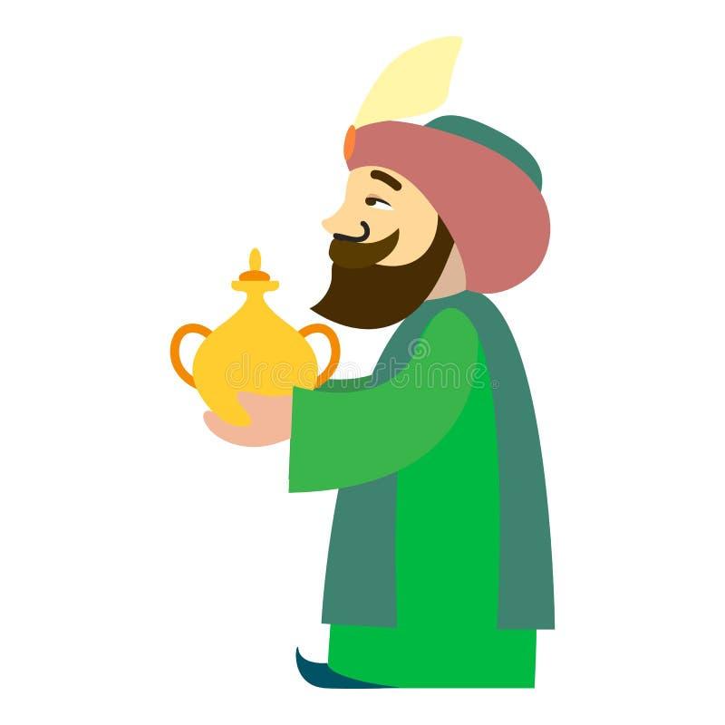 Icône Arabe du Roi Balthazar, style de bande dessinée illustration de vecteur