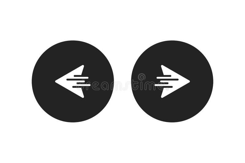 Icône arrière de droite à gauche ou prochaine Flèches droites ou gauches Vecteur illustration stock